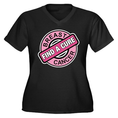 Pink Breast Cancer Find a Cur Women's Plus Size V-