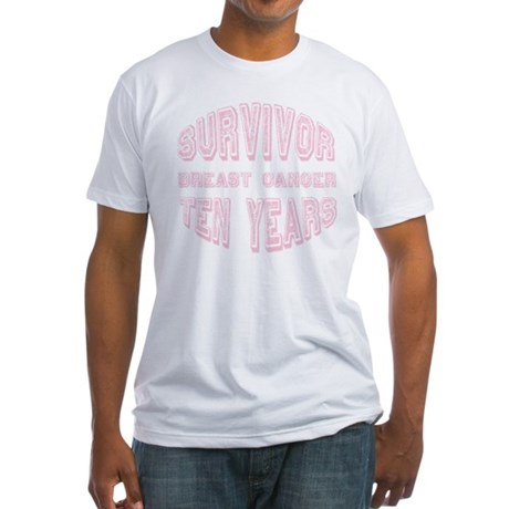 Survivor Breast Cancer Ten Years Fitted T-Shirt