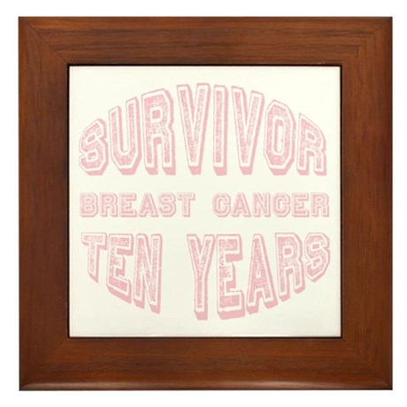Survivor Breast Cancer Ten Years Framed Tile