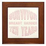 Survivor Breast Cancer Ten Years Framed Tile