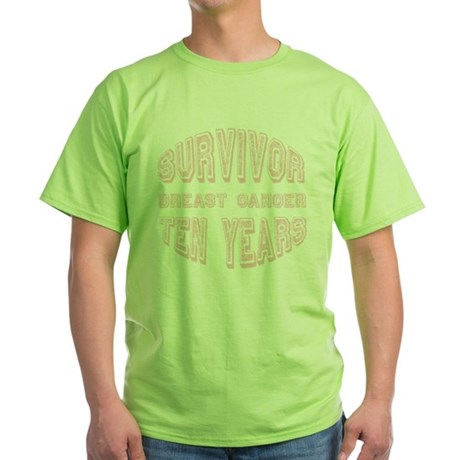 Survivor Breast Cancer Ten Years Green T-Shirt