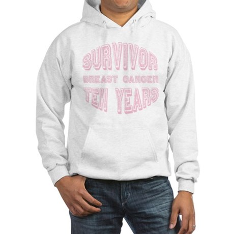Survivor Breast Cancer Ten Years Hooded Sweatshirt
