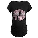 Survivor Breast Cancer Ten Years Maternity Dark T-