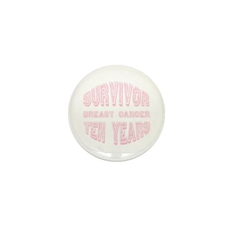 Survivor Breast Cancer Ten Years Mini Button