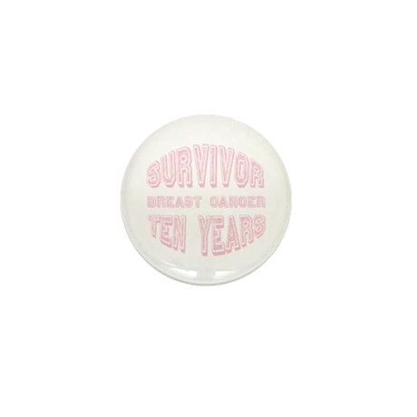 Survivor Breast Cancer Ten Years Mini Button (10 p