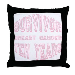 Survivor Breast Cancer Ten Years Throw Pillow