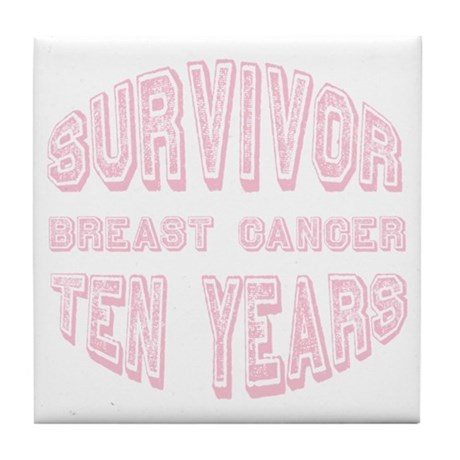 Survivor Breast Cancer Ten Years Tile Coaster