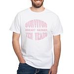 Survivor Breast Cancer Ten Years White T-Shirt