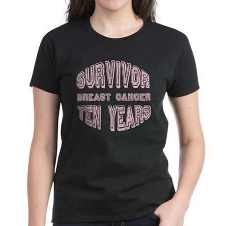 Survivor Breast Cancer Ten Years Women's Dark T-Sh