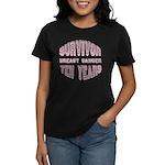 Survivor Breast Cancer Ten Years Women's Dark T-Sh