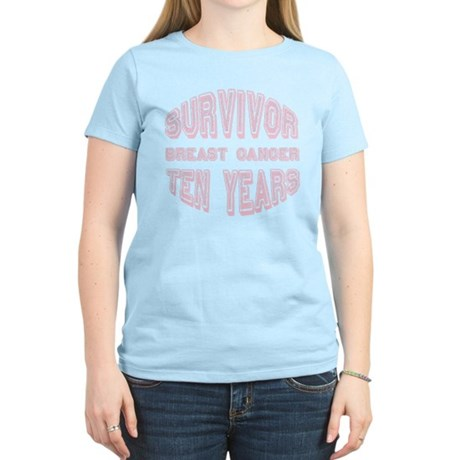 Survivor Breast Cancer Ten Years Women's Light T-S