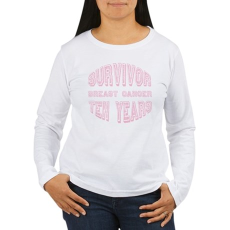 Survivor Breast Cancer Ten Years Women's Long Slee