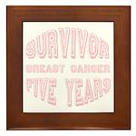 Survivor Breast Cancer Five Years Framed Tile