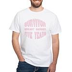 Survivor Breast Cancer Five Years White T-Shirt