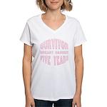 Survivor Breast Cancer Five Years Women's V-Neck T
