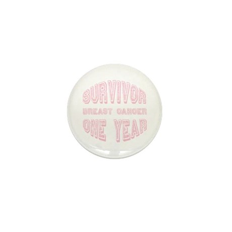 Survivor Breast Cancer One Year Mini Button (10 pa