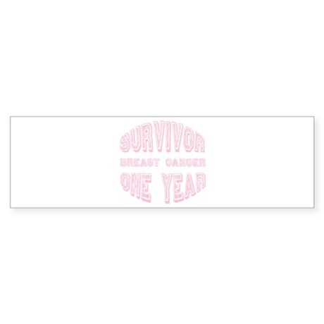 Survivor Breast Cancer One Year Bumper Sticker