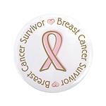 """Pink Ribbon Breast Cancer Survivor 3.5"""" Button"""