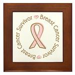 Pink Ribbon Breast Cancer Survivor Framed Tile