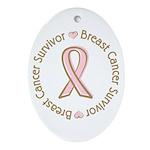 Pink Ribbon Breast Cancer Survivor Oval Ornament