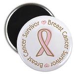 """Pink Ribbon Breast Cancer Survivor 2.25"""" Magnet (1"""