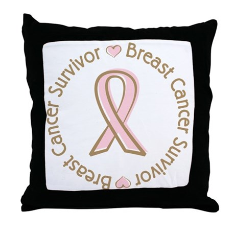 Pink Ribbon Breast Cancer Survivor Throw Pillow