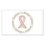 Pink Ribbon Breast Cancer Survivor Sticker (Rectan