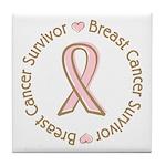 Pink Ribbon Breast Cancer Survivor Tile Coaster