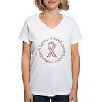 Pink Ribbon Breast Cancer Survivor Women's V-Neck