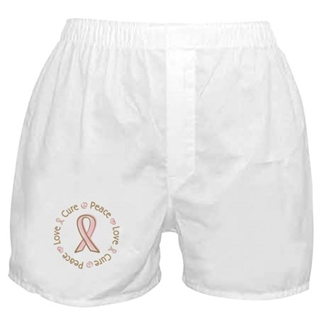 Peace Love Cure Breast Cancer Boxer Shorts
