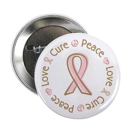 "Peace Love Cure Breast Cancer 2.25"" Button (100 pa"