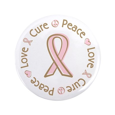 "Peace Love Cure Breast Cancer 3.5"" Button (100 pac"
