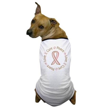 Peace Love Cure Breast Cancer Dog T-Shirt