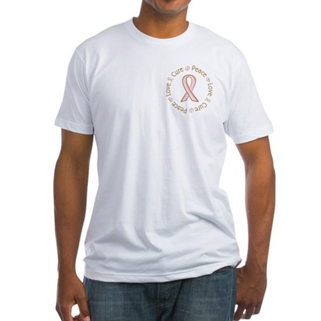 Peace Love Cure Breast Cancer Fitted T-Shirt