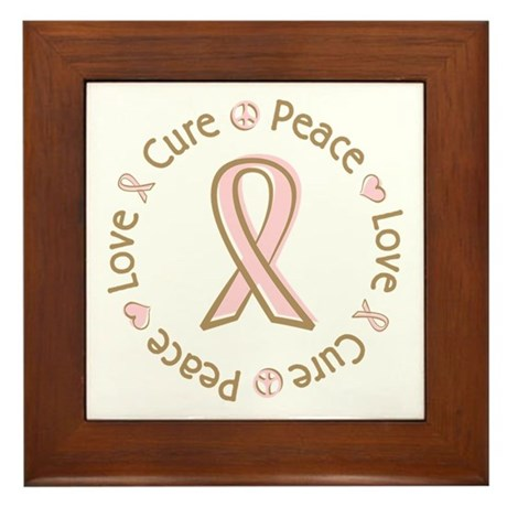 Peace Love Cure Breast Cancer Framed Tile