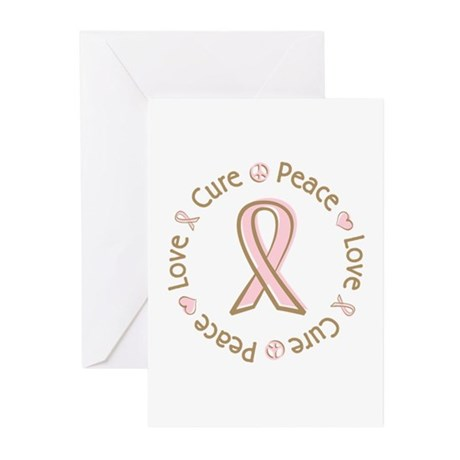 Peace Love Cure Breast Cancer Greeting Cards (Pk o