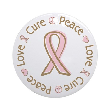 Peace Love Cure Breast Cancer Ornament (Round)