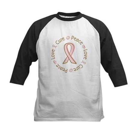 Peace Love Cure Breast Cancer Kids Baseball Jersey