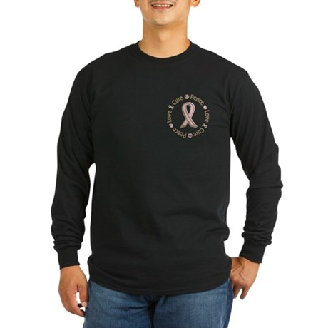 Peace Love Cure Breast Cancer Long Sleeve Dark T-S