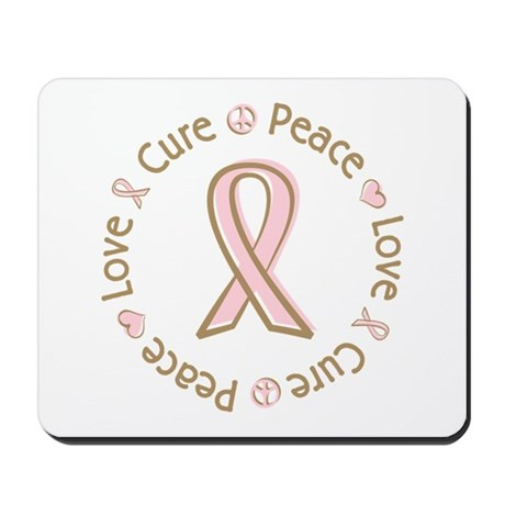 Peace Love Cure Breast Cancer Mousepad