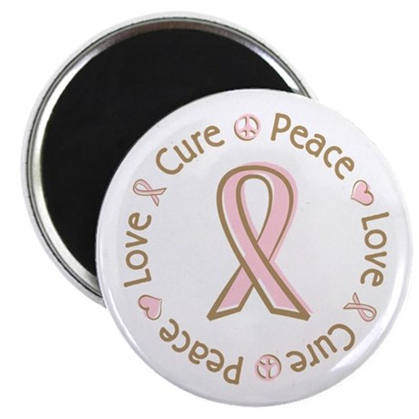 "Peace Love Cure Breast Cancer 2.25"" Magnet (100 pa"