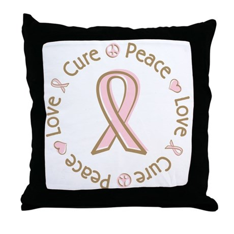 Peace Love Cure Breast Cancer Throw Pillow