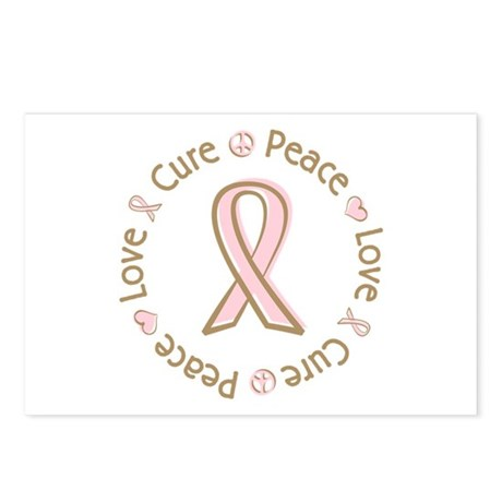 Peace Love Cure Breast Cancer Postcards (Package o