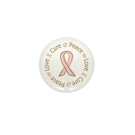 Peace Love Cure Breast Cancer Mini Button (100 pac