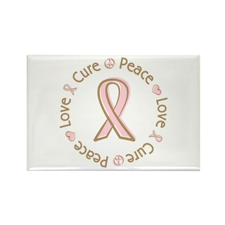 Peace Love Cure Breast Cancer Rectangle Magnet (10
