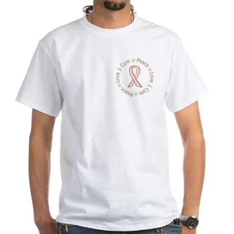 Peace Love Cure Breast Cancer White T-Shirt