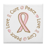 Peace Love Cure Breast Cancer Tile Coaster