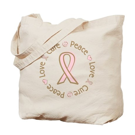 Peace Love Cure Breast Cancer Tote Bag