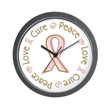 Peace Love Cure Breast Cancer Wall Clock