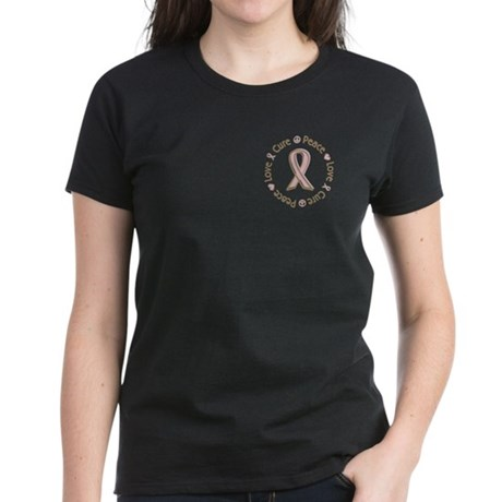 Peace Love Cure Breast Cancer Women's Dark T-Shirt